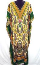 Gorgeous Paisley Kaftan, Bohemian Long Beach Gown, Free Size Hippie Maxi Dress - $12.19
