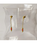 9ct Yellow Gold Dangle Earrings with Red Coral Accent - $65.00