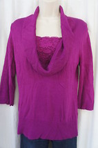 Alfani Petite Top Sz PP Pure Berry Cowl Neck Lace 3/4 Sleeve Lace Casual... - $19.71