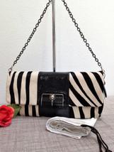 NWT COACH Kristin Haircalf Black/White Zebra Pattern Clutch $598 - Style... - $222.74