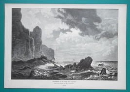 GERMANY Helgoland Archipelago Coastal Scenery - VICTORIAN Era Engraving ... - $13.46