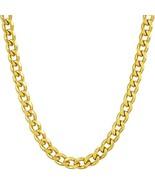 Gold Cuban Link Chain 5MM, Round, 24K Overlay Premium Fashion Jewelry Ne... - $74.11