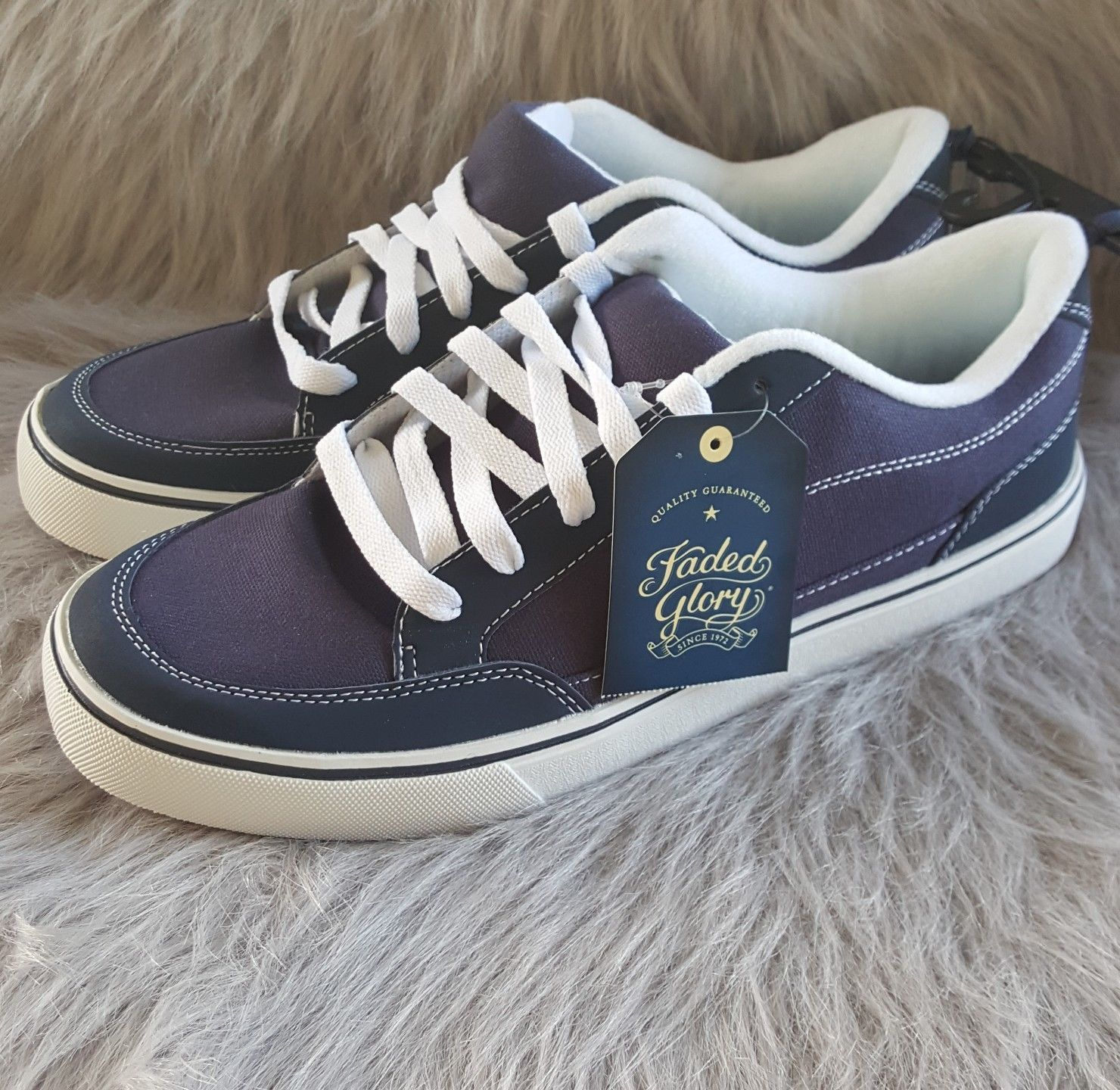 57. 57. Previous. Faded Glory Mens Sz 12 Navy Blue Canvas Lace Shoe Sneaker Casual  Footwear NWT 505a1df0e38