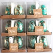 Nuevo Docena Decorativo Semana Santa Mesa Azul/Verde Azulado Hoja de Oro... - $10.01