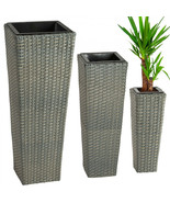 3X Rattan Garden Tube Planter Vase Flower Pots Patio Furniture Garden - ... - $188.09