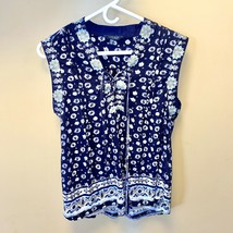Lucky Brand Blue Floral Criss Cross Top Medium - $25.22