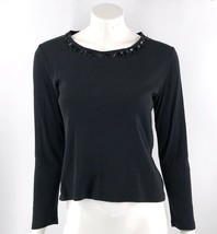 Talbots Top Size Medium Petite Black Beaded Neckline Long Sleeve Embelli... - $9.50