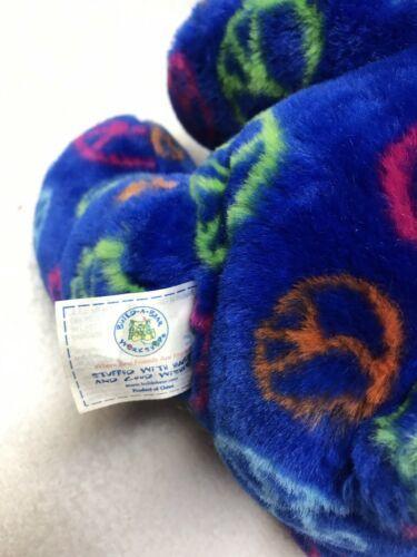 """Build A Bear Peace Sign Teddy Bear Blue Plush Signs 14"""" Stuffed Animal Doll Aqua"""
