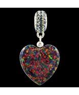 Alducchi Black Rainbow lab Opal Puffy Heart- Crystal .925 Silver Dangle ... - $46.95