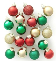 18ct Mini Glass Round Christmas Ornament Gold Green and Red - Wondershop image 1