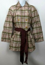 Cordier Button Down Plaid Coat Jacket Multi Color Pattern Size 40 Women - $24.74