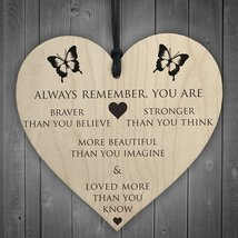 You Are Braver Stronger Smarter & Beautiful Wooden Hanging Heart Friends... - $11.00