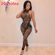 Karlofea Sexy See Through Women Long Rompers Sheer Mesh Gold Sequin Club Night P - $46.94