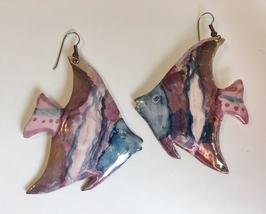 Fish Porcelain Earrings Plum Pink Blue Glaze Vintage Handmade Pierced Da... - $45.00