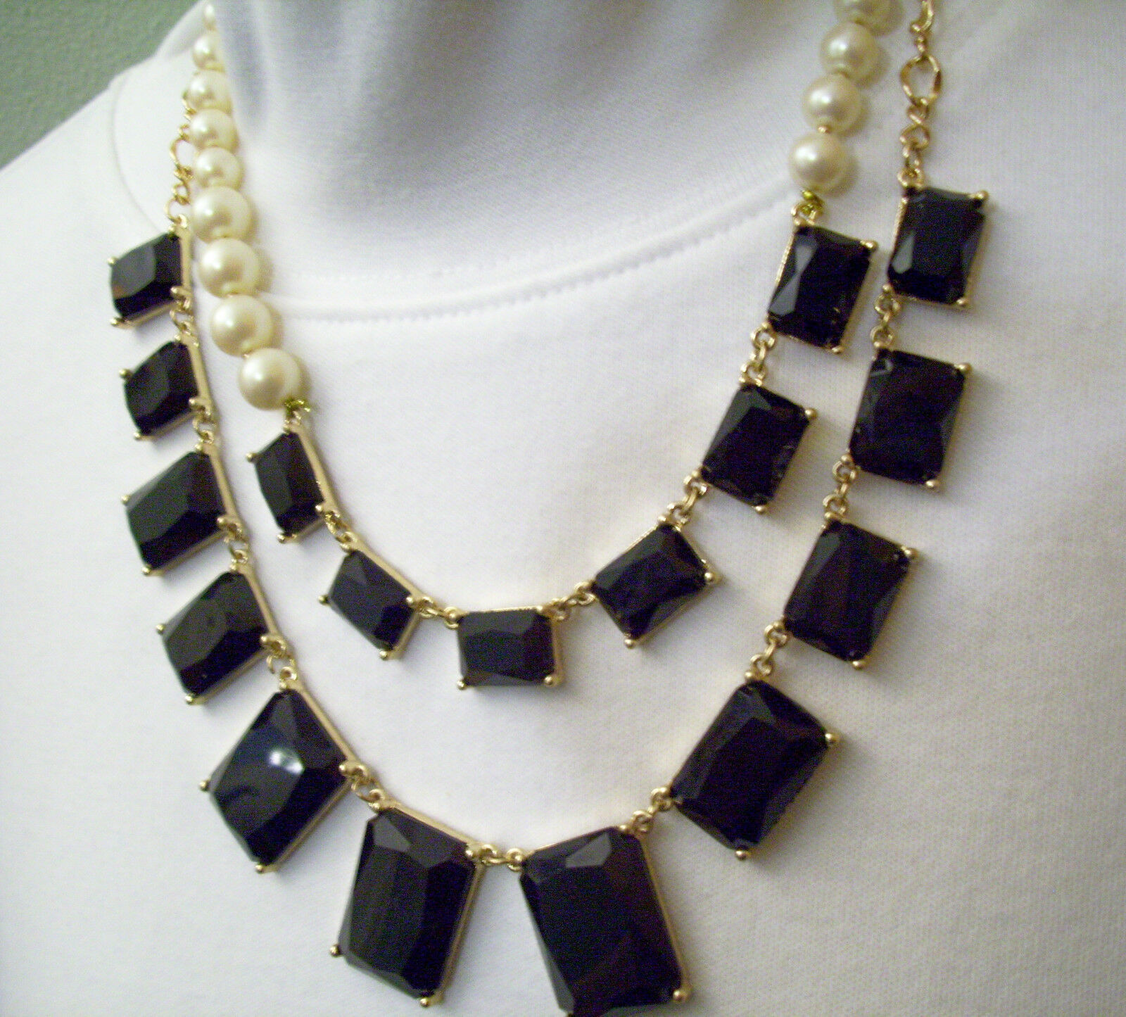 Pearls JET Black Rhinestone DRAMATIC 2 Strand Necklace Chain ASYMMETRICAL Estate image 2