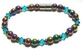 Beaded Bracelet Magnetic Hematite Clasp Single Strand   7 Inch   (MAG-019)