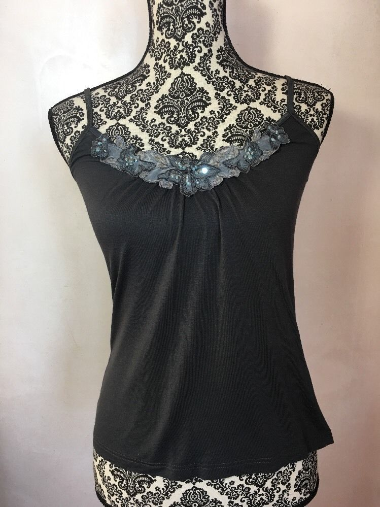 H&M Top S Cami Tank Gray SEXY Soft Stretch Spaghetti Straps Lace Sequins