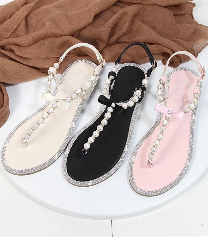 Black Women Pearls Beach Bridals Flip Flops,Pink Ladies Beach Wedding sandals - $39.99