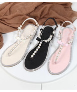 Black Women Pearls Beach Bridals Flip Flops,Pink Ladies Beach Wedding sa... - $39.99