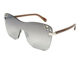 Jimmy Choo Mask Studded Shield Sunglasses Beige /Grey Gradient Mirror 01... - $204.77