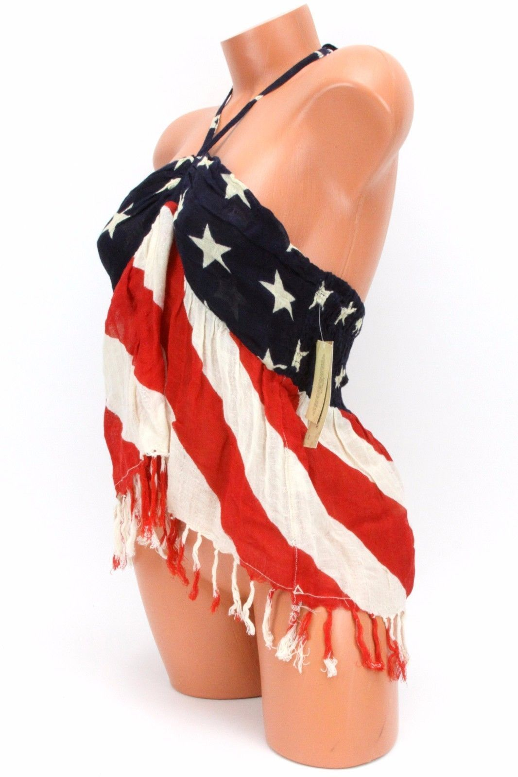 Denim Supply Ralph Lauren Fringed American-Flag-Print Halter Top NWT