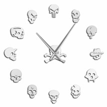 Skull Heads Giant Wall Clock DIY Horror Art Frameless Zombie Heads Loft ... - $30.35+
