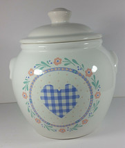 Vintage Quilt Pattern Cookie Jar 9in Canister Heart Flowers Love 1987 HMK - $24.99