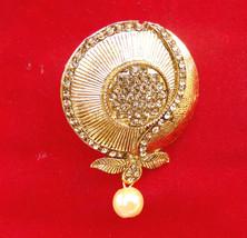Indian American Fashion Jewelry Gold Tone Cz Polki Suit/sari Pin Saree Brooch - $8.54