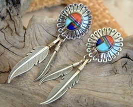 Sterling silver earrings feathers inlaid stones southwestern thumb200