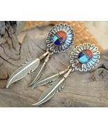 Sterling Silver Feather Earrings Inlay Southwestern Dangles - $22.95