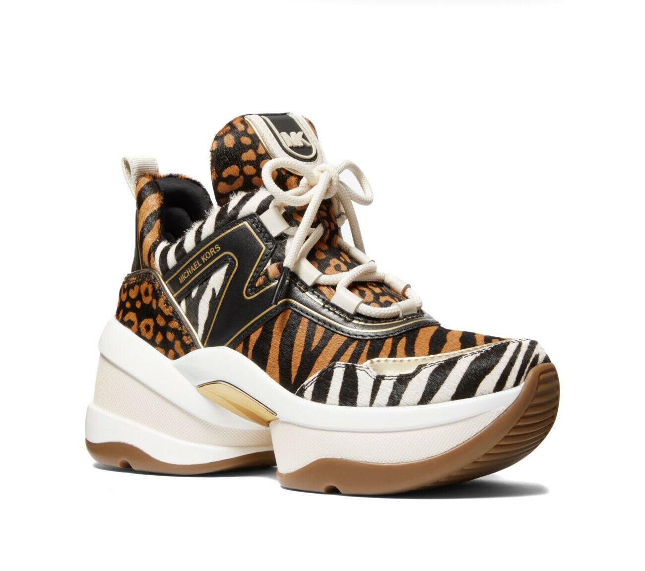 Michael Kors Women's Olympia Trainer Printed Hair Calf Dad Sneaker Shoes Suntan