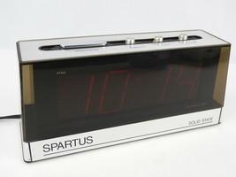 Vintage Spartus Big Face Red LCD Alarm Clock Digital Desk Table top - $26.88