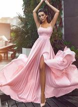 Sweet A-Line Spaghetti Straps Pink Chiffon Long Prom Dress with Split Front - $179.00