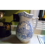 Royal Ironstone China Warranted Transferware Pitcher in Blue on White - $250.00