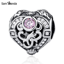 Buy Authentic 100% 925 Sterling Silver Charm Bead Opulent Heart Orchid C... - $13.99