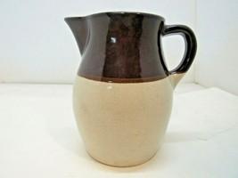 "Roseville Art Pottery Pitcher Brown Ivory Glaze 6"" R.R.P. Co. Vintage - $24.95"