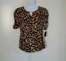 Thalia Sodi Women's Keyhole Front Mid Ruched Sleeve Animal Print Black T... - $32.52