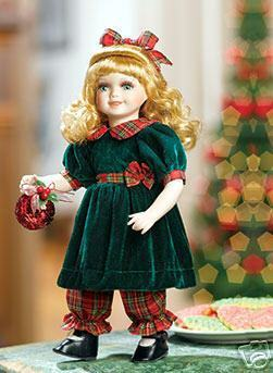 Image 1 of Rachel Porcelain Doll, Green & Red w/Ornament Heritage Signature Collection 13