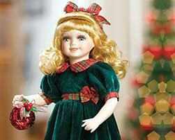 Rachel Porcelain Doll, Green & Red w/Ornament Heritage Signature Collection 13