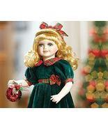Rachel Porcelain Doll, Green & Red w/Ornament H... - $32.59 CAD