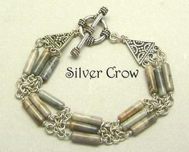 Picasso Stone Gemstone Sterling Silver Triple Strand Bracelet - $35.99