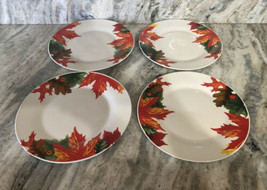 "Royal Norfolk 10 1/2"" Dinner Plates Set Of 4 Fall Autumn Leaves-RARE-SHI... - $39.08"