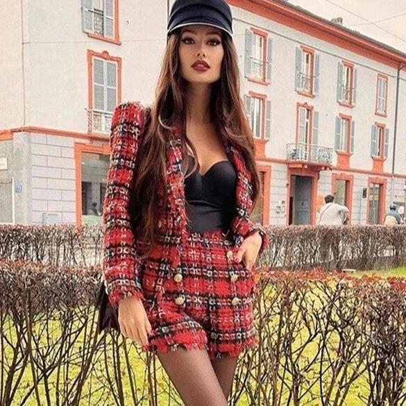 Free shipping high quality tweed 2 piece women s suit slim fit blazer high waist double