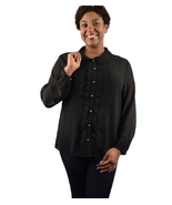 Plus size song Sleeve Scalloped Placket Blouse - $14.99