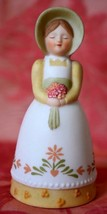 AVON Bell Lady with bonnet Apron & Flower Bouquet 1985  over 3 inches tall - $7.91