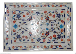 """11""""x7.5"""" White Marble Serving Tray Plate Hakik Marquetry Floral Arts Home Decor - $215.59"""