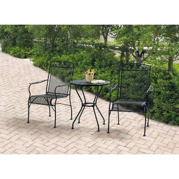Patio furniture table chairs set garden wrought iron 3 piece bistro 3 watchthetrailerfo
