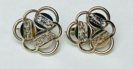 Sarah Coventry Vintage Silver Disc Loop Trefoil Signed Clip On Earrings - $7.70