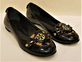 Tory Burch Comfort Flats Sz-6M Black Patent Leather Gold Metal Tory Burc... - $99.95