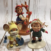 Vintage Christmas Tree Ornaments Girl Mouse Boy Skating Lot of 3 - $13.94